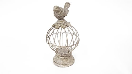 Gray Opening Round Decorative Bird Cage, with Bird on Top