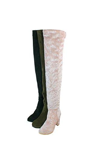 Femmes Parti Genou Arrivée Bloquée Nouvelle De Bal Bottes gray D'hiver Talon BFCM Kolnoo Chaussures d1xqUd