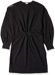 Vestido manga longa bufante de moletom com nó na cintura, Colcci, Feminino
