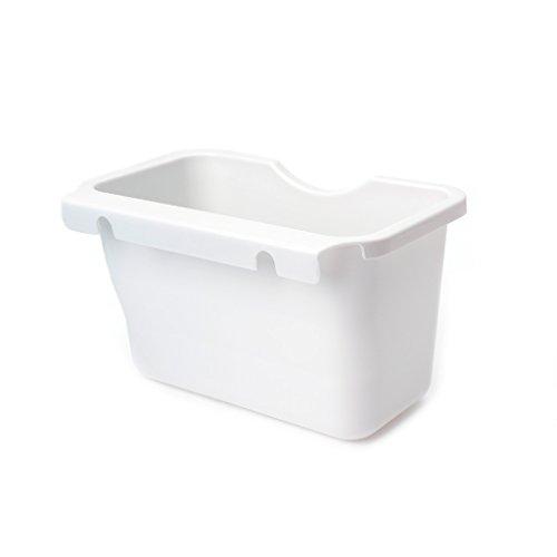 Doober Plastic Kitchen Cabinet Door Hanging Trash Garbage Can Bin Rubbish Container (White)