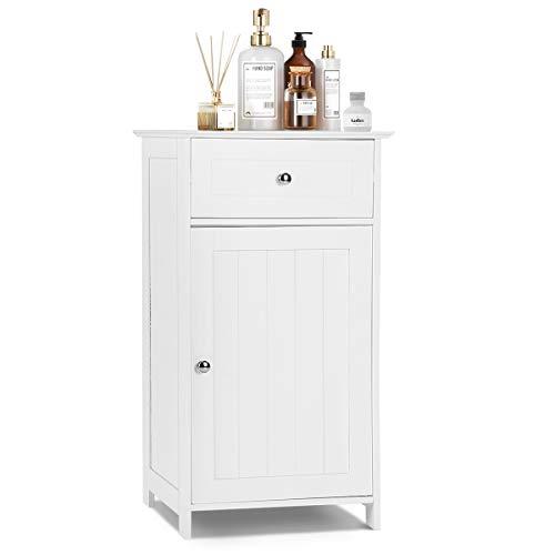 Tangkula Bathroom Floor Storage Cabinet, Home Living Room Bedroom Sturdy Wooden Modern Side Cabinet Organizer (30″ with Door & Drawer)