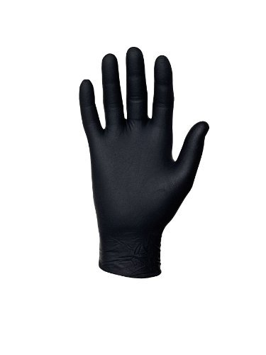 Disposable Gloves, Nitrile, M, Black, PK100 (Black Knight Best Gloves)