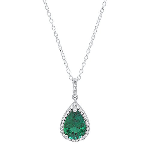 Round Created Emerald Pendant - Dazzlingrock Collection 10K White Gold 10X7 MM Pear Cut Lab Created Emerald & Round Diamond Pendant (Silver Chain Included)