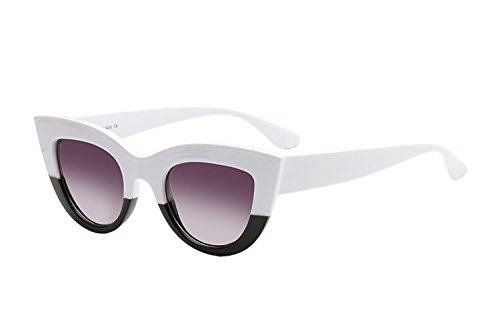 UV Protection Cat Eye Sunglasses ,Mirrored Flat Lens Women Fashion Glasses (White Black-gradient - White Black Gradient