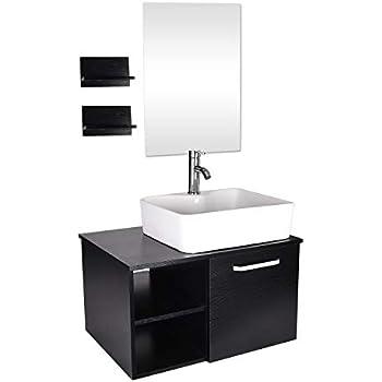 Amazon.com: 28 Inch Bathroom Vanity and White Ceramic Sink ...