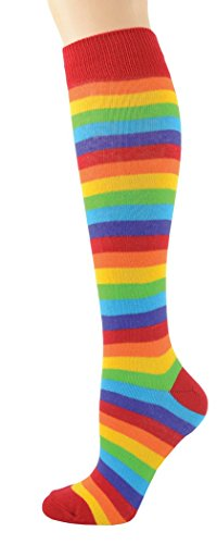 Foot Traffic - Women's Fun Knee High Socks, Fits Women's Shoe Sizes 4-10 (Rainbow) ()