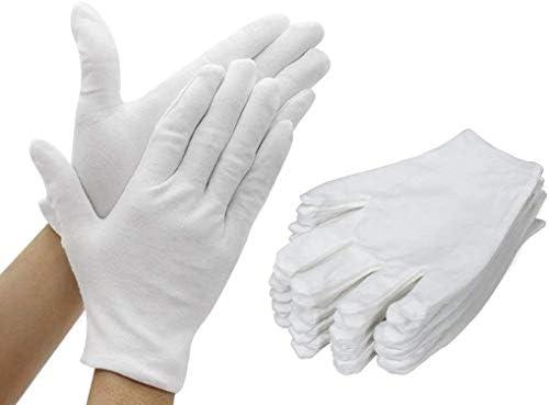 AYUQI 12 pares de guantes de algodón blanco, guantes de tela ...