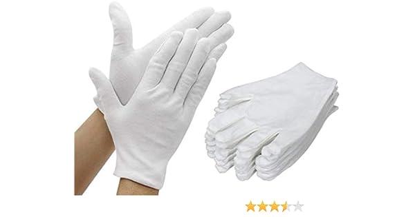 AYUQI 12 pares de guantes de algodón blanco, guantes de tela blanca, guantes de algodón, cómodos y transpirables, para el cuidado de la piel, examen de joyas, trabajo diario, etc-L: Amazon.es: Belleza