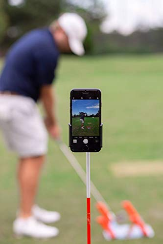 (HoleN1 Golf Cell Phone Clip - Golf Swing Training Aid - Clips to Golf Alignment Stick and Golf Club Shaft)