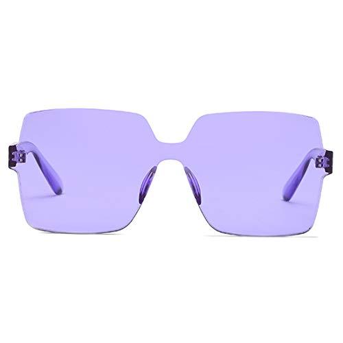 Mode Carré Lunettes Unisexe Violet Soleil De Bonbon Surdimensionnées Couleur Inlefen Transparent Lentille wfRpHH