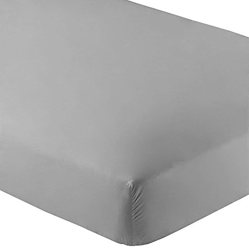 Bare Home Fitted Bottom Sheet Premium 1800 Ultra-Soft Wrinkle Resistant Microfiber, Hypoallergenic, Deep Pocket (Twin XL, Light Grey)