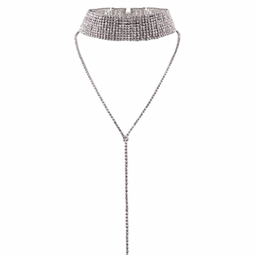 Tinksky Nightclub Super Sexy Choker Necklace Double Layer Full Rhinestones Crystal Wide Collar Necklace Christmas Gift (Silver) (Party Collar Rhinestone)