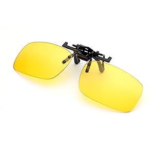 Night Driving Clip on Glasses – Anti-Glare Polarized Lens Metal Clip Sunglasses for Prescription Glasses (Driving Glasses Clip on)