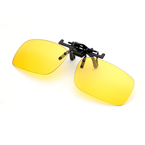 Night Driving Clip on Glasses – Anti-Glare Polarized Lens Metal Clip Sunglasses for Prescription Glasses (Driving Glasses Clip on)