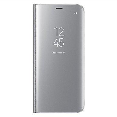 Casos hermosos, cubiertas, Funda Para Samsung Galaxy A8 2018 A8 Plus 2018 con Soporte Espejo Flip Activación al abrir/Reposo al cerrar Cuerpo Entero Color sólido ( Color : Oro Rosa , Modelos Compatibl Púrpula