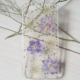 Sixspace Personalized Purple Larkspur and White Lavender Real Dried Pressed Flowers Case for iPhone 6 Plus