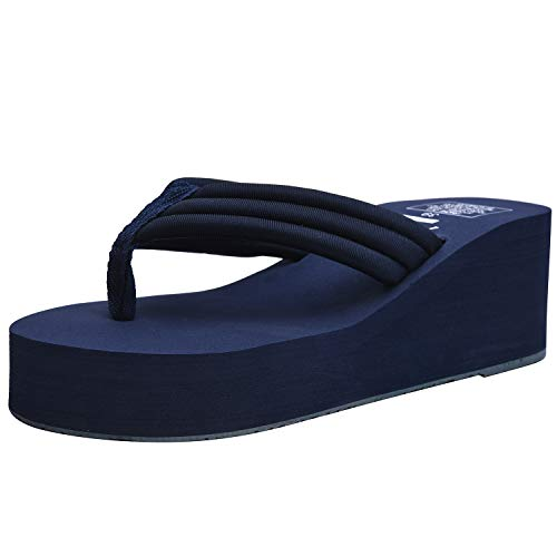 (Orient Tree Women's High Wedge Flip Flops Platform Sandals Beach Shoes Navy Blue US 8)