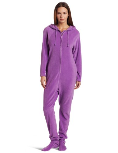 Buffalo Womens Raglan Hoodie - Casual Moments Women's One Piece Footed Pajama, Lavender, Large