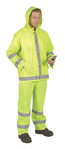 (Galeton 8000975-L 8000975 Repel Rainwear Reflective 0.35 mm PVC Rain Suit, Lime, Large)