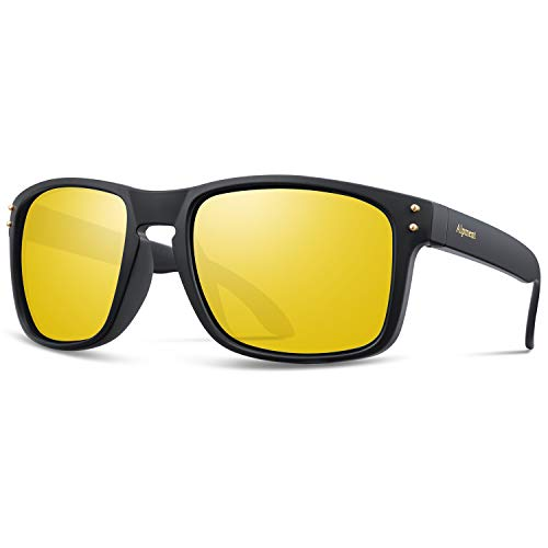 Alpment HD Night Vision Glasses for Driving Men Women Lightweight,Anti-Glare Polarized Sunglasses 55mm Yellow Tinted Lens Gift ()
