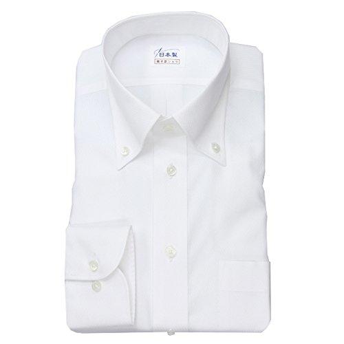 ワイシャツ メンズ長袖(形態安定シャツ)ボタンダウン ホワイトドビーカルゼ 綿ポリ混 軽井沢シャツ [A10KZB429] B011BKQ30S 首回り:54 裄丈:50(半袖)|大きめ型 大きめ型 首回り:54 裄丈:50(半袖)