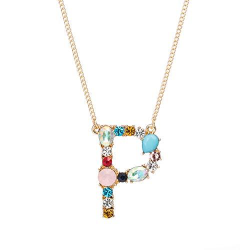 FAgdsyigao Jewelry Necklace,A-Z Capital Letter Pendant Colorful Rhinestone Inlaid Women Necklace Jewelry - P ()