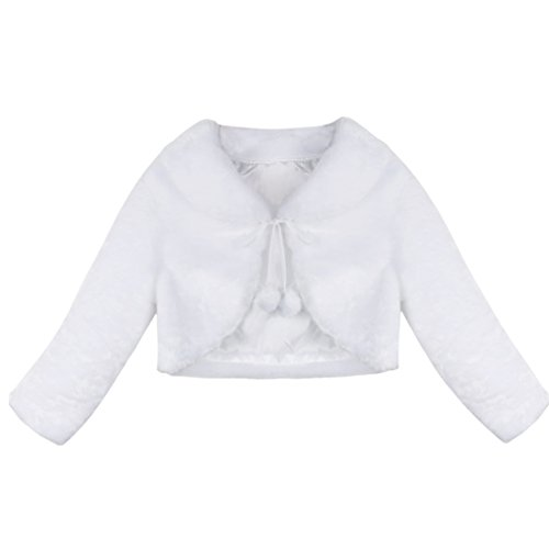 iEFiEL Girls Baptism Flower Dress Wedding Faux Fur Bolero Jacket Shrug White 5-6