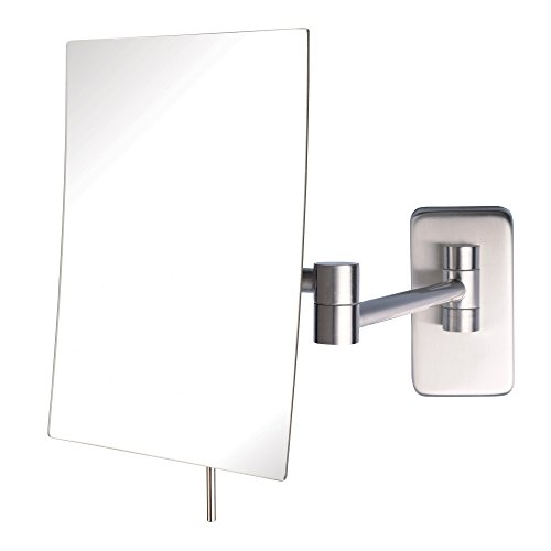 (Jerdon JRT695N 6.5-Inch by 8.5-Inch Wall Mount Rectangular Makeup Mirror, Nickel Finish)