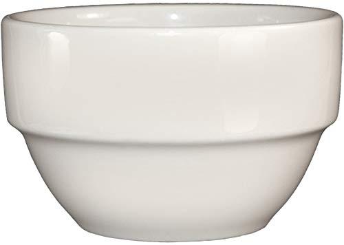 Bone Bouillon - ITI Ceramic Stackable Bouillon Cups with Pan Scraper, 6 Ounce, 6-Pack (Bone White with Rim)
