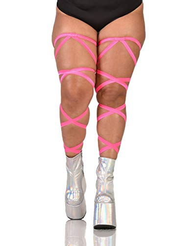 iHeartRaves Pair of Non-Slip Neon Pink Leg Wraps