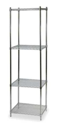 Wire Shelving Unit, Storage Rack - 4 Shelf, Steel, Chrome (Roll Levelers Off)