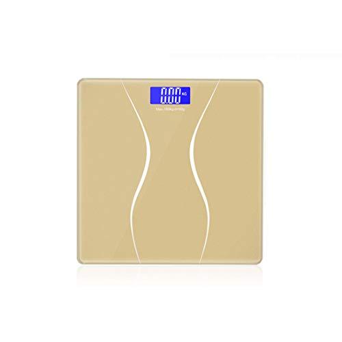 GIORAL Balanza de baño Digital de Peso Corporal preciso Balanzas de Pantalla retroiluminada (Color : Gold)