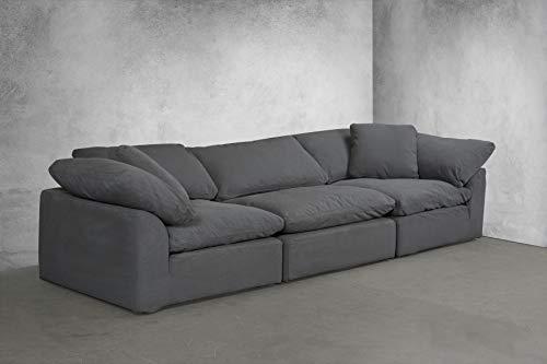 Sunset Trading SU-1458-94-2C-1A Cloud Puff 3 Piece Modular Performance Gray Sectional Slipcovered Sofa, Grey