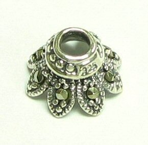 2 pc .925 Sterling Silver Marcasite Flower Bead Cap 11mm X 6.4mm/Findings/Antique