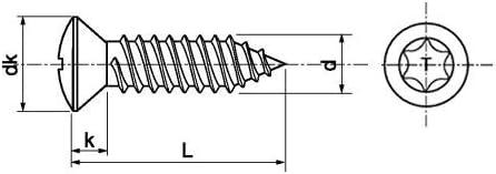 DIN 7983 A2 C 4.8X25 TX25 Linsensenkkopf-Blechschrauben TORX DIN 7983 A2 50 Stk