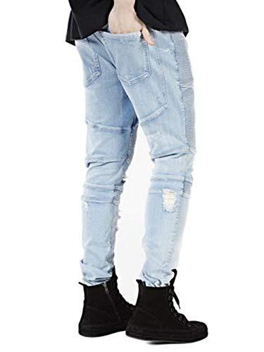 Tempo Il Strappate Stretch Moda A Coste Tessuto Blau Motociclista Alla Jeans Fit Denim Uomo Slim Giovane Da Per Pantaloni Libero w67q4ZS7