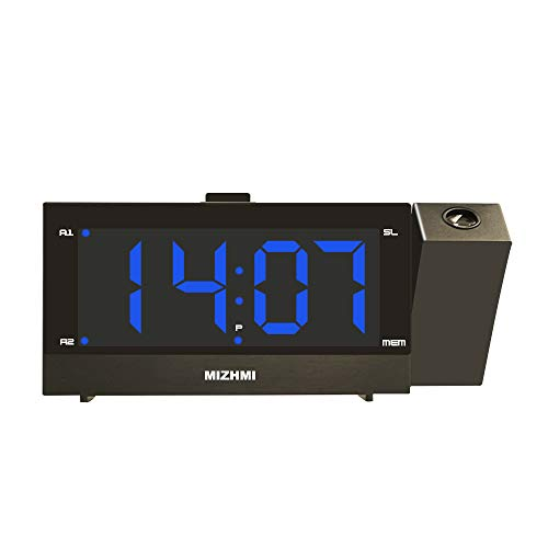 SLFC Projection Alarm Clock, 6 Screen Dimmer, Digital Alarm Clock for Bedrooms Ceiling, USB Phone Charger, 10 FM Radio, 5'' LED Curved Screen&Clear Big Blue Digit, 180° Rotable (Black)