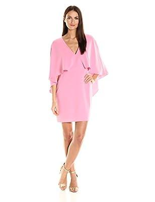 HALSTON HERITAGE Women's Flowy Cape Sleeve V Neck Crepe Dress