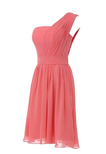 YiYaDawn Kurzes One Shoulder Kleid Brautjungfernkleid Partykleid für Damen Aquamarin 5NJjIQr
