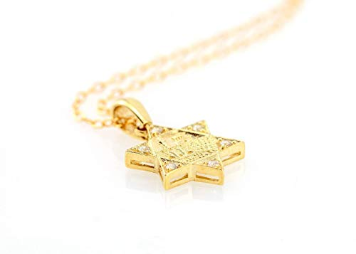 Jerusalem Star of David 22k Gold Plated Silver Pendant 18