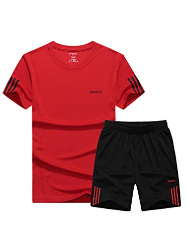 Lavnis Men's Casual Tracksuit Short Sleeve Athletic Sports T-Shirts and Shorts Suit Set Red XL