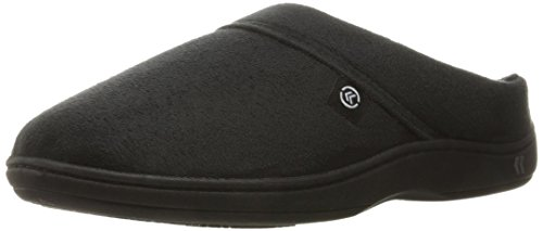 ISOTONER Men's Microsuede Devin Slip On Slipper with with Cooling Memory Foam for Indoor/Outdoor Comfort Black