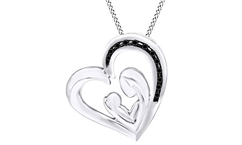 Black Natural Diamond Mom & Baby Heart Pendant Necklace 14k White Gold Over Sterling Silver - Baby Diamond Heart Pendant