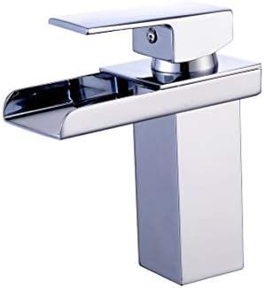 滝の浴室のシンクの蛇口シングルハンドルホットコールドウォーターミキサーホール船洗面所の蛇口 (Color : Silver)