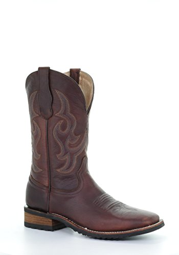 Corral Boots Mens Wine Embroidered Square Toe Rubber Sole Western Boots ib8H8mxQ