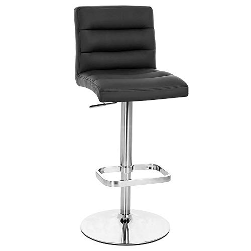 Zuri Furniture Black Lush Adjustable Height Swivel Armless Bar Stool with Chrome Base