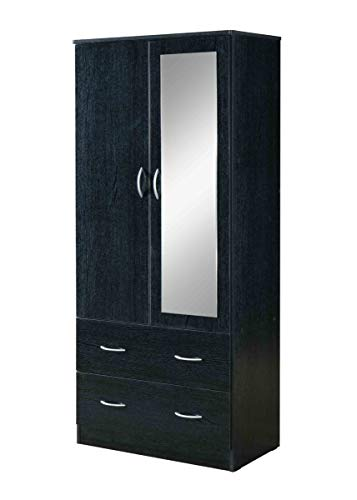 Hodedah HI882 Door 2-Drawers, Mirror and Clothing Rod in Black Armoire
