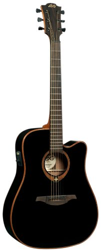 LAG T100DCEBLK Stage Dreadnought Cutaway Acoustic-Electric Guitar - Black -  Korg USA Inc.