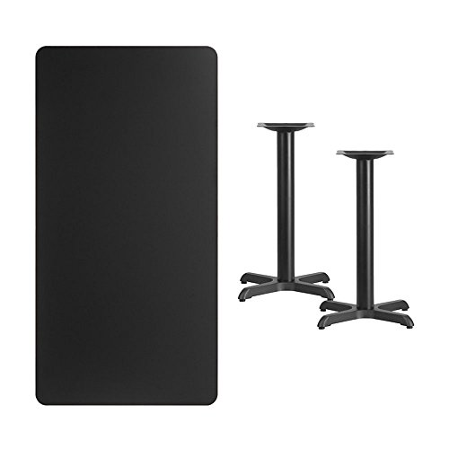 Offex 30'' x 60'' Rectangular Black Laminate Table Top with 22'' x 22'' Table Height Bases