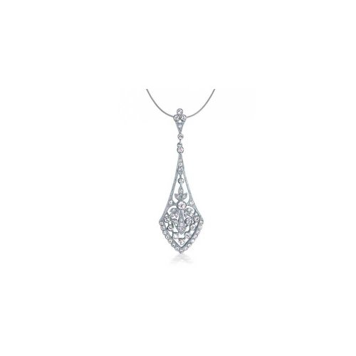 Bling Jewelry Bridal Vintage Deco Style Pave Crystal Teardrop Pendant Silver Tone Rhodium Plating Brass Necklace 16 Inch